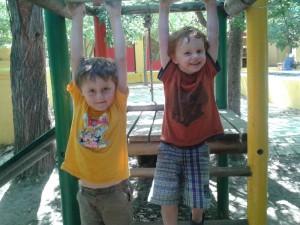 Samuel and Matthew on monkey bars